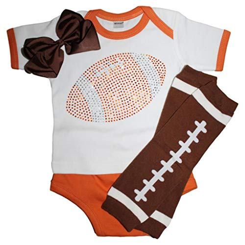FanGarb Rhinestone Infant Toddler Baby Girls Football Orange Team Color Outfit 3-6mo