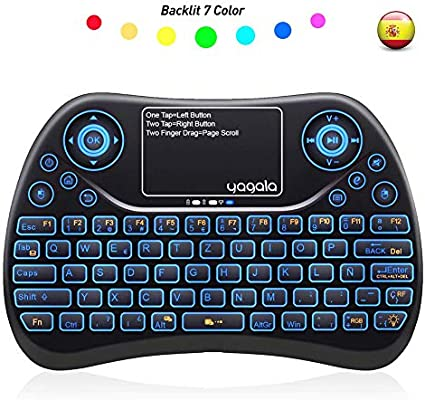 YAGALA Mini Teclado inalámbrico retroiluminado 2.4GHz con Touchpad Mouse combinato de Color 9 Cambios de Color per Android TV Box, PC, Pad, Smart TV, X-Box, HTPC: Amazon.es: Electrónica