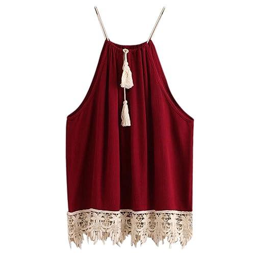 LHWY Mujer Camisa Encaje Recortado Tasselled Lazo