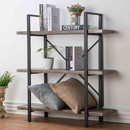 HSH Furniture 3-Shelf Bookcase, Rustic Bookshelf, Vintage Industrial Metal Display and Storage Tower, Dark Oak For Sale