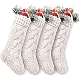 "Pack 4,18"" Unique Ivory White Knit Christmas Stockings"