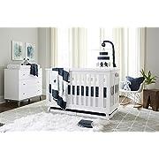 Ivanka Trump Stargazer Collection: 4pc Nursery Bedding Baby Crib Bedding Set - Blue Stars Galaxy Crib Bedding with Blue Plush Bear