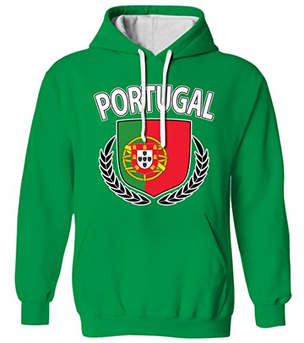 Portugal Olive Wreath Branch Flag Crest Portuguese 2 Tone Hoodie Sweatshirt (Kelly, 2X-Large) ()