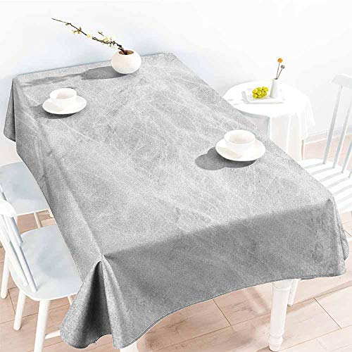 Beihai1Sun Water Resistant Table Cloth,Marble Abstract Soft Pastel Toned Onyx Stone Background with Grunge Effects Image,Table Cover for Kitchen Dinning Tabletop Decoratio,W54x90L Pale Grey White