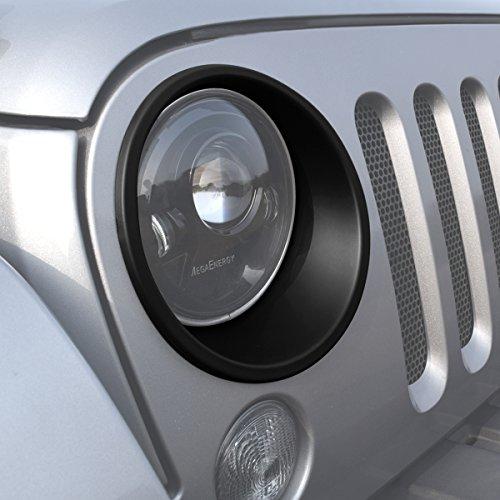 ICars Black Front Headlight Trim Cover Bezels Pair Jeep Wrangler Rubicon Sahara Sport JK Unlimited Accessories 2 door 4 door 2007 - 2016