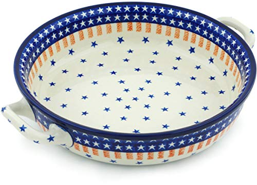 Polish Pottery Medium Round Baker with Handles made by Ceramika Artystyczna (Classic Americana Theme) + Certificate of Authenticity