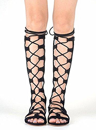 Gladiator Sandaler høye Boots Open Brown Lace Sandal Kne Tå Women Knee Brun Støvler Åpen Gladiator Sandal Toe Snøring Roman high Roman Kvinner Elashe Up Elashe Sandals 8zP0wZq