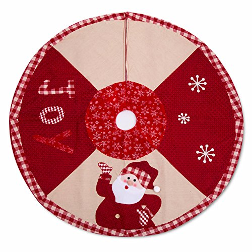 iPEGTOP 42 inch Christmas Tree Skirt - Quilted Xmas Tree Skirt Holiday Decoration Joy Character Snowflake Lovely Santa - Red and White Plaid Rim