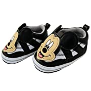 Disney Baby Boys Mickey Mouse Infant Shoes, Black Mickey Mouse Twin Gore Slip/Ons, 3-6 Months