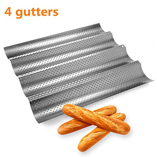 (Ohomr No-stick French Bread Pan for Baking Baguettes Metallic Perforated Wave Loaf Bake Mold 4 Gutters Baguette Pan)