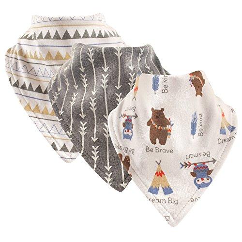 Luvable Friends Basic Cotton Bandana Bib Set,Tribe 3 Pk,One Size Bandana Bib
