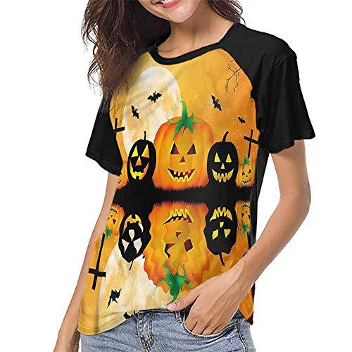 Raglan Short Sleeve Shirts,Halloween,Scary Pumpkin S-XXL Summer Women's Short Sleeve T-Shirt]()