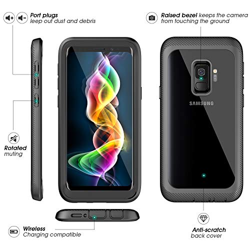 Designed Case for Samsung Galaxy S9 Case,ALOFOX Full Body Rugged Armor Cover Case with Built-in Screen Protector Crystal Clear Case for Samsung Galaxy S9 5.8 inch 2018 Release-(Black+Clear.)