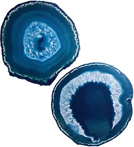 LARGE TEAL/BLUE AGATE COASTERS (4-4.73, Set of 2, with Bumpers & Coating) | Geode Stone Slices with Natural Marble & Quartz Crystal Accent for Table Decor