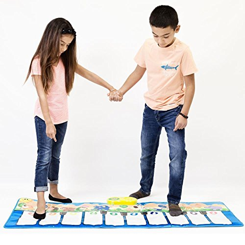 Keyboard Playmat 54 Large Piano Musical Mat - 10 Large Touch Piano Keys - Plays 10 Popular Childrens Songs and Nursery Rhymes, Play Mode, Learning Mode, Adjustable Volume and Tempo, Fun Toy for Kids
