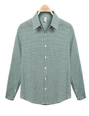 Women's Turn Down Collar Roll Up Sleeve Plaid Casual Button Down Shirt Tops