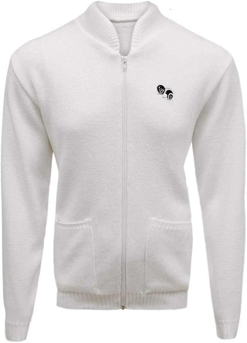 G5 Apparel Bowls Lawn Bowling White Zip Pocket Cardigan Logo