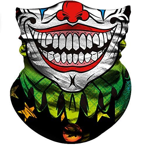 Motorcycle Face Mask Sun UV Dust Wind Protection Durable Tube Mask Bandana Skeleton Face Mask for Men Women Bike Riding Cycling Biker Fishing Hunting Outdoor Festival (Triangle Smile Face Green Flag) ()