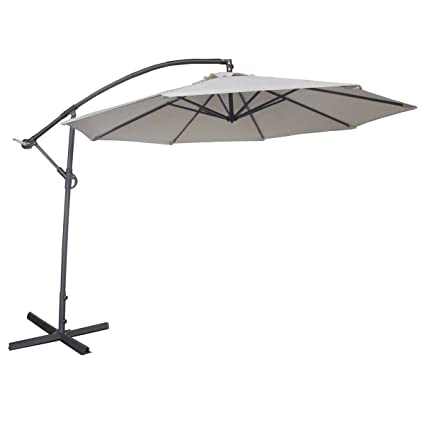 Abba Patio 10 Feet Offset Cantilever Umbrella Outdoor Hanging Patio Umbrella,  Ivory