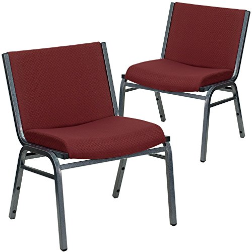 (Flash Furniture 2 Pk. HERCULES Series Big & Tall 1000 lb. Rated Burgundy Fabric Stack Chair)