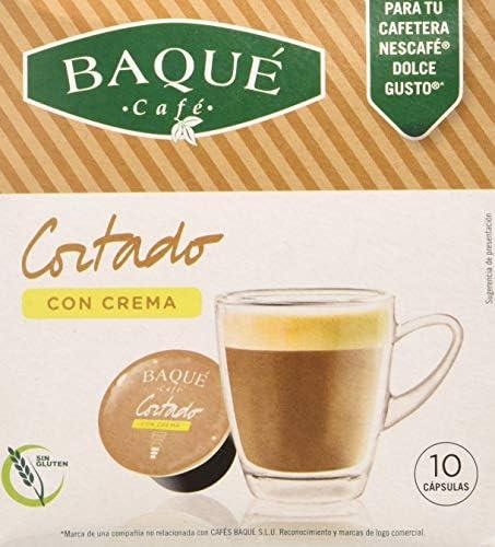Cafés Baqué 10 Capsulas Compatibles Dolce Gusto Café Cortado Con ...