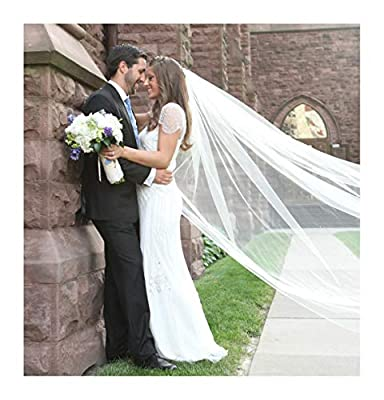 Fenghuavip 1T Long Tulle Wedding Veil 4M 5M Cathedral Wedding Veil with Free Comb
