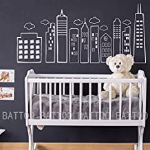 """BATTOO Kids Doodled City Skyline -Whimsical Wall Art Vinyl Decal for Kid's Rooms Play rooms Bedrooms Schools Libraries(White, 21.5""""h x46""""w)"""