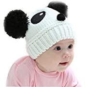 Baby Panda Cap,Misaky Kids Girls Boys Stretchy Warm Winter Hat Beanie (White)