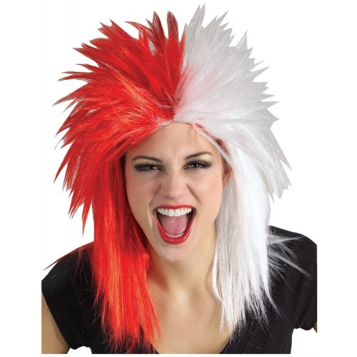 Sports Fanatic Halloween Costume (Rubie's Costume Red and White Sports Fan Wig, Red/White, One Size)