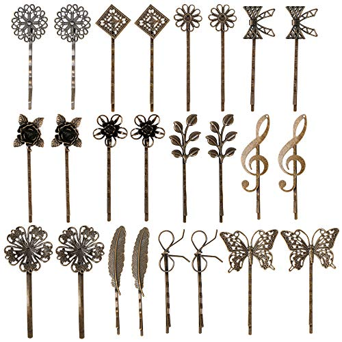 inSowni 24 Pack/12 Pairs Bronze Vintage Retro Leaf Flower Butterfly Alligator Hair Clips Bobby Pins Hairpins Barrettes Accessories for Women Girls