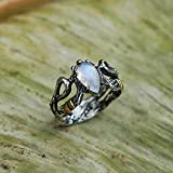 Sterling Silver Rainbow Moonstone Ring ''Elza'' with 14 Karat Gold Plating MADE TO ORDER moonstone engagement ring