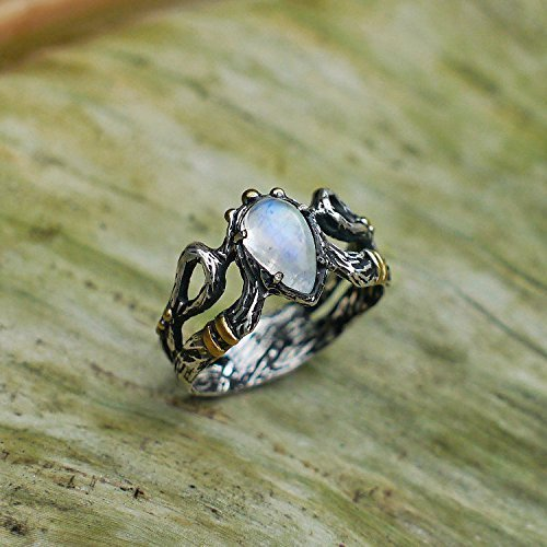 Sterling Silver Rainbow Moonstone Ring ''Elza'' with 14 Karat Gold Plating MADE TO ORDER moonstone engagement ring by BlackTree