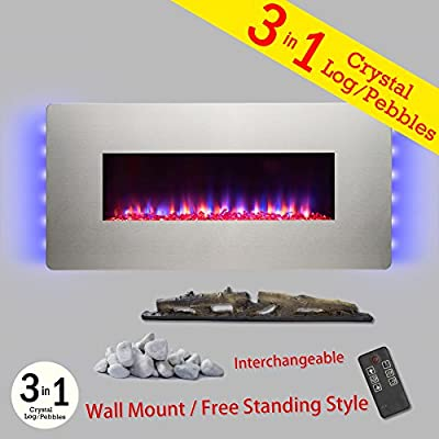 "Golden Vantage 3-in-1 36"" Adjustable Push Button Control Wall Mount & Freestanding Convertible Electric Fireplace Stove Heater w/ Back Light Remote Control Easy Install Stand"