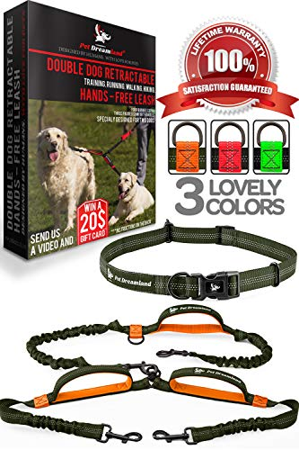 Pet Dreamland Double Dog Leash Hands Free - 2018 Two Dogs Coupler Complete Set - No Tangle 360 Splitter Swivel - for Walking 2 Dogs Medium to Large (up to 150lbs) - No Pull Tandem Dual Bungee Lead (Tangle Splitter)