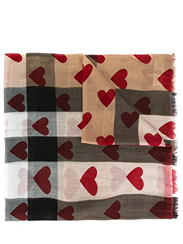 Burberry Lightweight Check Red Heart Scarf by BURBERRY