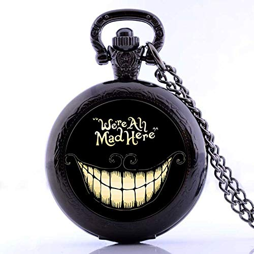 Alice in Wonderland We're All Mad Here Quartz Pocket Watch | Analog Pendant Necklace | Mens Womens Pocket