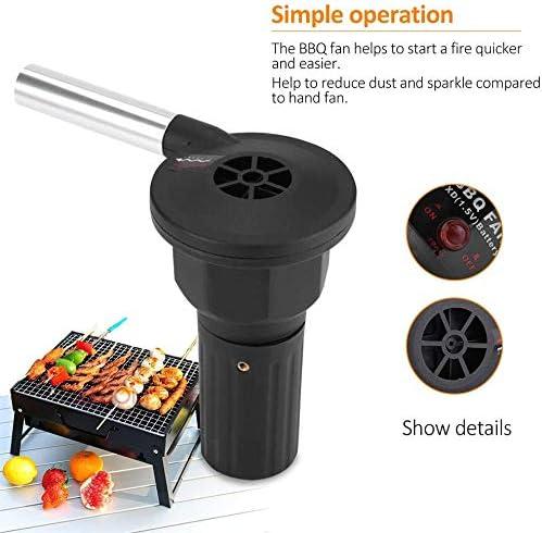 Fdit Ventilateur Soufflet Electrique pour Barbecue BBQ Puissant Mini Bruit Bas Ventilateur à Air pour Pique-Nique