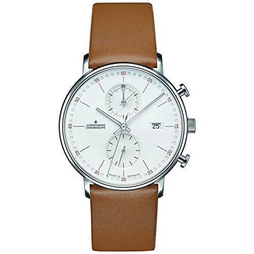 Junghans Form C Chronoscope Quartz Matt Silver Watch | Tan Calfskin 041/4774.00
