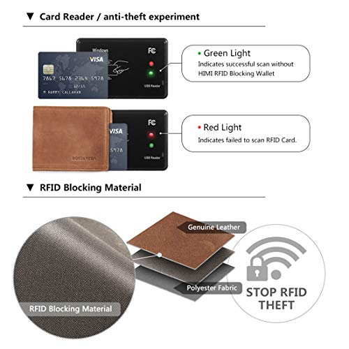 78388cec4362 BOSTANTEN Men's RFID Blocking Wallet Genuine Leather Slim Trifold Wallets  Minimalist Card Holder with 2 Money Clips