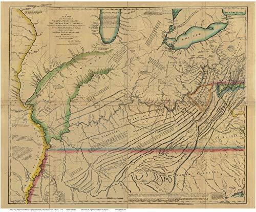 Western Parts of Virginia, Pennsylvania, Maryland and North Carolina 1778 Map - Colonial USA Reprint Hutchins (Mountains Of Western Virginia And North Carolina)