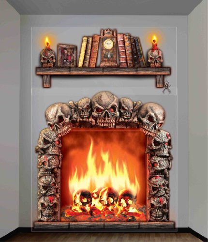 Forum Novelties Haunted House Indoor/Outdoor Fireplace Wall Decoration, 5', (Halloween Skulls Background)