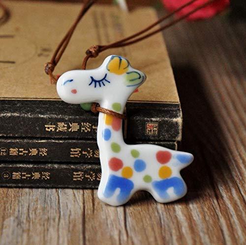 Hand Painted Pendant Necklace - jingdezhen ceramic jewelry sweet cartoon cute giraffe necklace pendant chain women's pure hand painted (blue