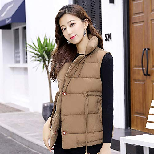 Thick Padded Khaki Sleeveless Overcoat Womens Outerwear Cotton Slim DOLDOA Short Coats Warm Zipper Jackets 1n4gqECwx