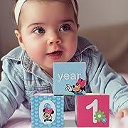 Disney Baby Girls Minnie Mouse Monthly Milestone Photo Sharing Age Blocks, Age 0-24M, 3 Blocks Gift Set