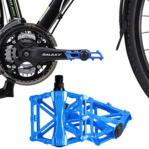 iHomeGarden Bicycle Pedals - Aluminum Alloy Mountain Bike Pedals - Flat Platform Pedals with 16 Anti-Skid Pins - Universal 9/16 Inch Road Pedals for BMX/MTB Bike, City Bike Blue