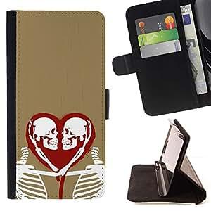 Momo Phone Case / Flip Funda de Cuero Case Cover - Corazón del amor Esqueleto Oro Rojo Blanco - Samsung Galaxy J3 GSM-J300