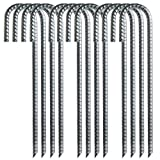 Toopify 12 Pack Rebar Stakes, 12 Inch J Hook