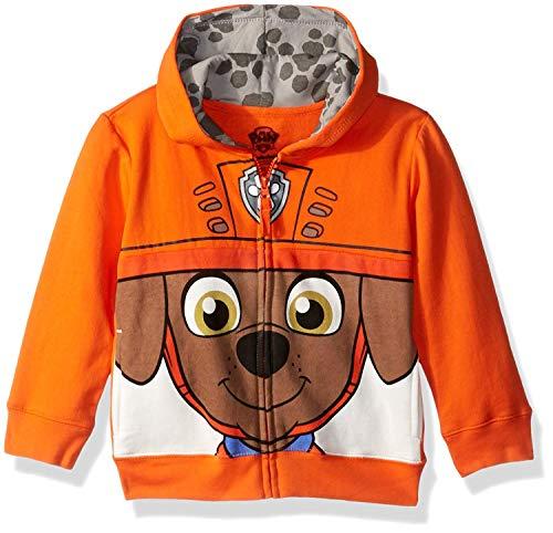 Nickelodeon Toddler Boys' Paw Patrol Character Big Face Zip-Up Hoodies, Zuma Orange, 5T