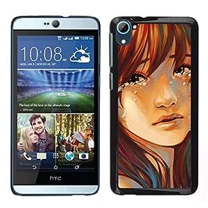 Caucho caso de Shell duro de la cubierta de accesorios de protección BY RAYDREAMMM - HTC Desire D826 - Las lágrimas de la muchacha gota Cara Retrato triste Heartbrake