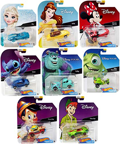 8 Disney Character Car Set Minnie Mouse & Princess Belle / Stitch / Frozen / Monsters Inc. Mike & Sulley Tow Truck / Peter Pan Hot Wheels Pinocchio Cap Car -